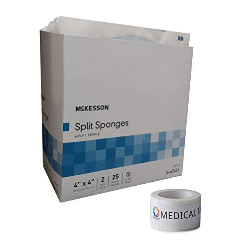 """Sterile 4""""X4"""" 6 Ply Split Drain Sponge 25 Packs of 2 + 1 Roll of Vakly Medical Tape (1)"""
