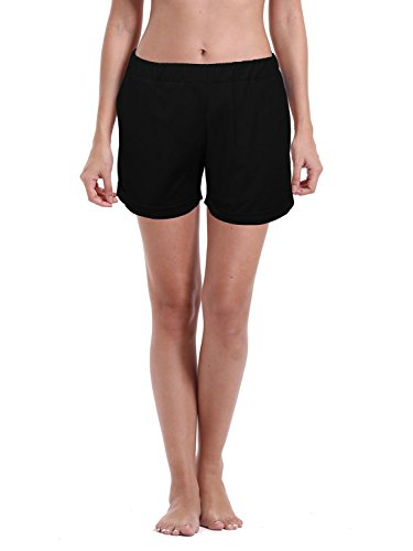 zeraca Women's Summer Beach Board Shorts (M10, Black)