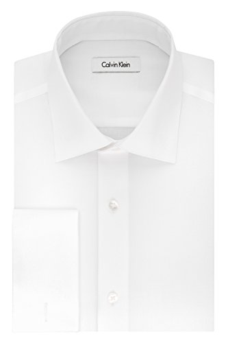 Herringbone Classic Dress - Calvin Klein Men's Big and Tall Non Iron Regular Fit Herringbone French Cuff Dress Shirt, White, 18