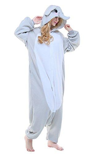 Newcosplay Adult Unisex Grassland Animals Image Elephant Onesie Costume (XL, Grey elephant) -
