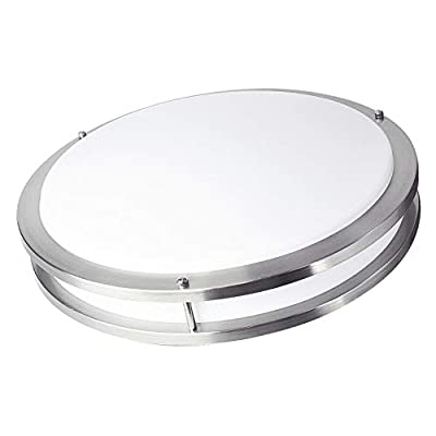 OSTWIN 18-inch Large size LED Ceiling Light Fixture Flush Mount, Dimmable, Round 28 Watt (150W Repl) 4000K Bright White, 2000 Lm, Nickel Finish with Acrylic shade UL and ENERGY STAR listed