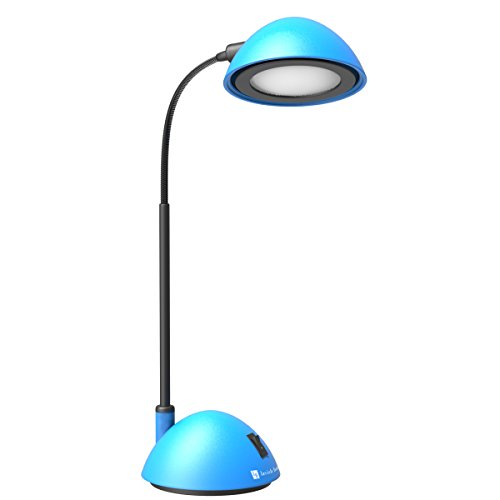 BLU Desk Lamp Adjustable Gooseneck for Reading, Crafts, Writing- Modern Design Light for Bedroom, Home, Office, and Dorm, 21