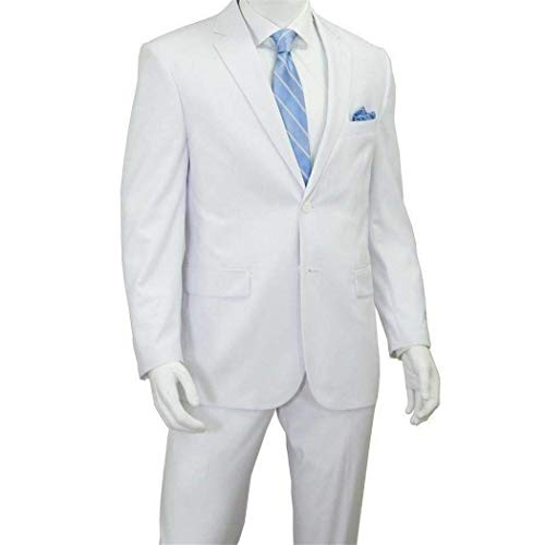 Mens White 2 Button Classic Fit Suit New (46L/40W) (46l Suit Mens New)