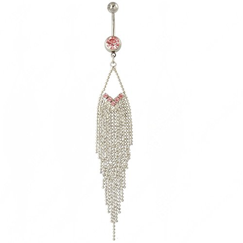 rbingNii Pink 15-Tassels Chain Dangle Navel Belly Bar Ring Barbell Body Jewelry ()