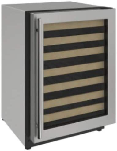 U-Line U2224WCS00A 2000 Series 24 Inch Built-In and Freestanding Single Zone Wine Cooler with 43 Bottle Capacity in Stainless Steel