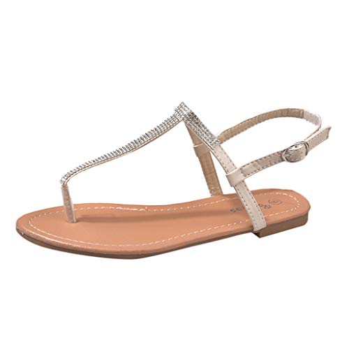(New in Respctful✿ Fashion Flat Sandals, Women Bohemian Strap Thong Summer Flat Casual Slingback Ankle Buckle Sandal Shoe Beige)