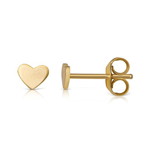 14K Yellow Gold Plated Sterling Small Flat Heart Girls Teens Women Stud (Gold Small Heart Earrings)