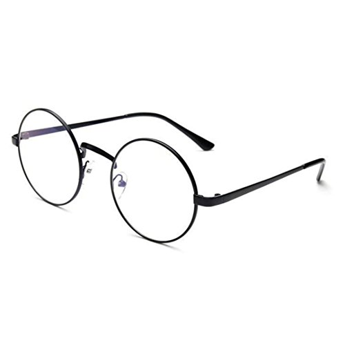 DEESEE(TM) Unisex Classic Metal Frame Mirror Rounded Glasses (As the picture, - Round Glasses