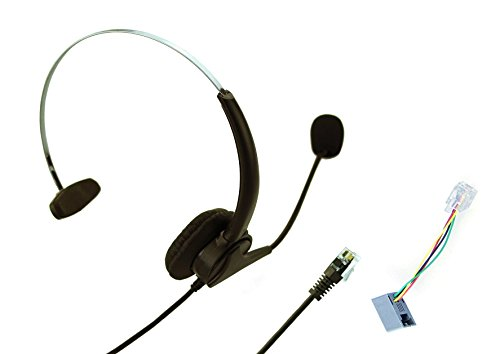 Universal 4-pin RJ9 Call Center Hands-free Headset Xfox® Monaural Mic Headphone Noice Cancelling + Extra Cushions for Avaya Nortel Nt Yealink Ge Emerson Office Desktop Telephone