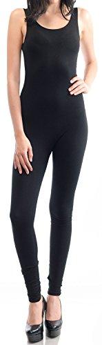 URBAN K WOMENS Active Plus and Regular Size Yoga Wear Sleeveless Unitard Bodysuit Jumpsuits, Ubk310_black, Medium