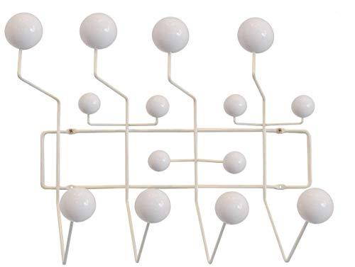 Soho Modern Style Mid-Century Minimalist Coat Rack, Walnut Wood, 14 Prongs (White Frame, White Wood)