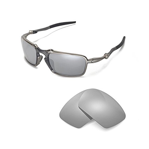 Walleva Replacement Lenses for Oakley Badman Sunglasses - Multiple Options Available (Titanium Mirror Coated - ()
