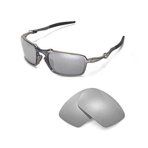 Walleva Replacement Lenses Oakley Badman Sunglasses - Multiple Options Available (Titanium Mirror Coated - - Oakley Badman