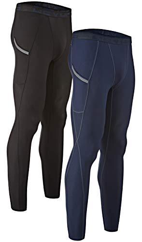 DEVOPS Men's 2 Packs Compression Cool Dry Tights Baselayer Running Active Leggings Pocket Pants (Medium, Black-Navy) (Best Running Pants With Pockets)