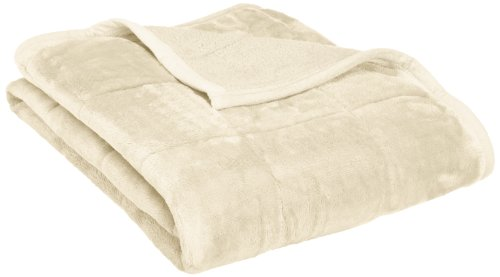 Northpoint Baroque Quilted Berber Reversible Throw Blanket, Ivory - 100% Polyester Down Alternative Fill Unique soft and silky feel - blankets-throws, bedroom-sheets-comforters, bedroom - 31zxXXmFtxL -