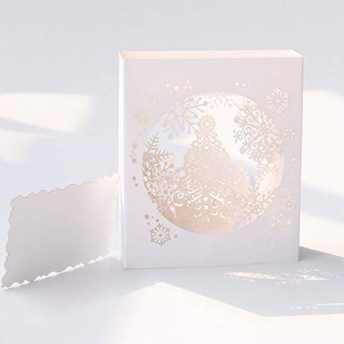 Paper Spiritz Snowflake Tree Pop Up Christmas Card - 3D Holiday Happy New Year Card - Laser Cut 4-Layer Snowflake - Including Envelope (White)