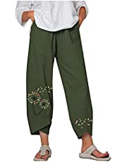iOPQO Womens Casual Loose Elastic Waist Cotton Trouser Boho Print Cropped Wide Leg Pants Harem Pants