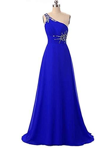 Angela Une Épaule Robes De Bal En Soirée Longue Ombre En Mousseline De Soie Robes De Fête De Mariage De Bleu Royal