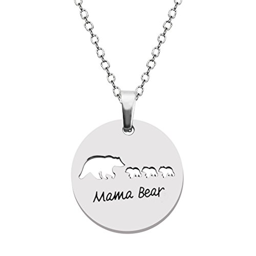 KUIYAI Sweet Mama and Baby Bear Round Pendant Necklace for Mothers with 3 Children (3 cubs round)