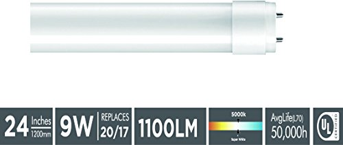 "Goodlite G-83408 9W 24"" T12 & T8 Fluorescent Replacement. Universal Direct OR Bypass T8 LED Light Bulb. One side power or  two side power, Super White 5000k,"