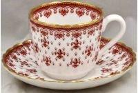 (Spode Fleur De Lys-Red Flat Cup & Saucer Set)