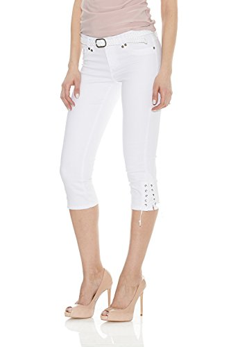 Suko Capri Pant for Women with Braided Woven Belt 17733 White 14 ()