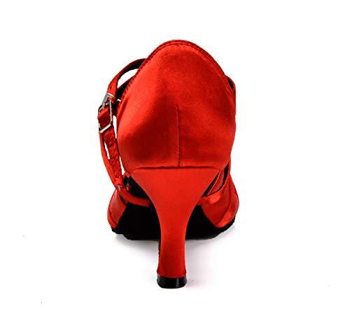 Ruban Femme Latin Minitoo Rhinestone Dance red Cheville Chaussures Satin En Nœud xRwdwBp