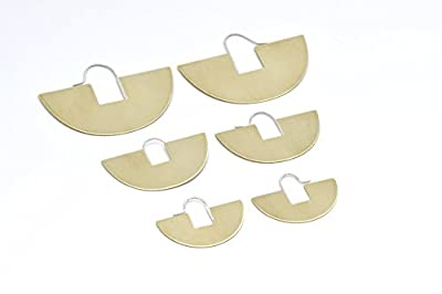 Brushed Brass Half Circle Hoops, Aztec Inspired Shapes, Sterling Silver Earwires