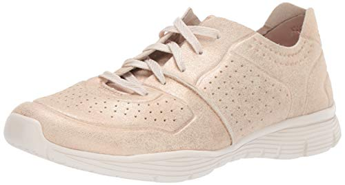 Skechers Women's Seager-Major League-Perfed Metallic Lace Up Jogger Oxford, Gold, 7.5 M US