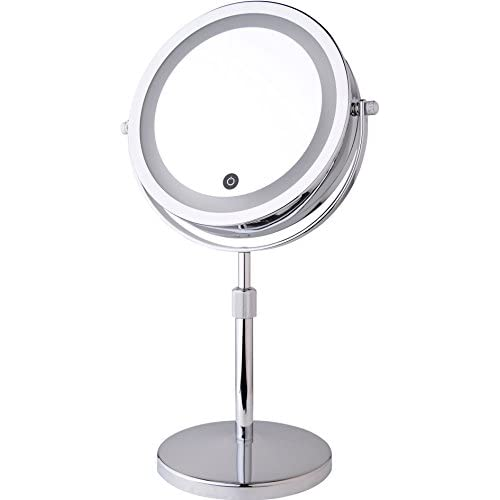 """80%OFF 7"""" Counter Top Telescopic Battery-Powered Lighted Vanity Mirror with 5X Magnification"""