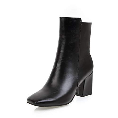 JOYBI Women Winter Square Toe Ankle Boots Waterproof Slip On Zip Comfortable Thick High Heel Dress Booties ()