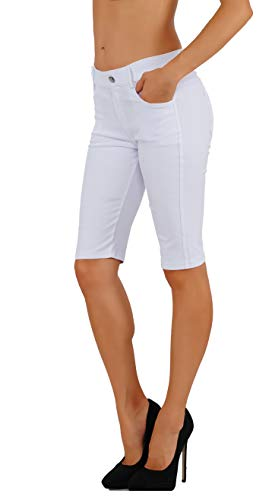 (Fit Division Women's Jean Look Cotton Blend Jeggings Tights Slimming Full Lenght Capri and Classic Bermuda Shorts Leggings Pants S-3XL (S US Size 2-4, FDJN825-WHT))
