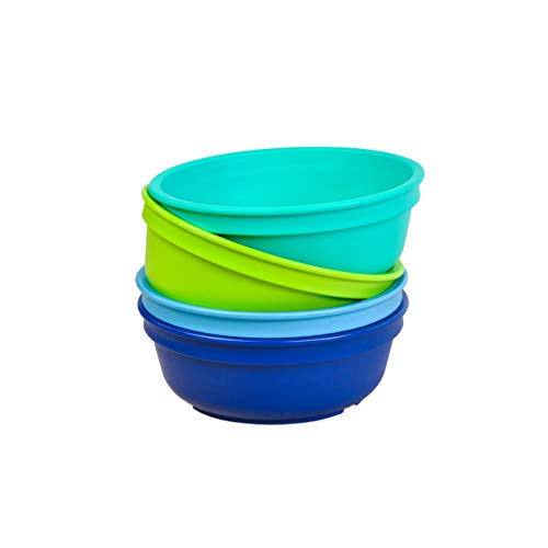 Re-Play Made in The USA 4pk Bowls for Easy Baby, Toddler, and Child Feeding - Sky Blue, Aqua, Lime Green, Navy (Under The Sea+)