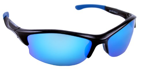 Optic Edge Semi-Rimless Frame Zone In Sunglasses, Black, Blue Mirror - Sunglasses Zone