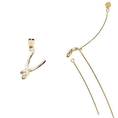 (14K Yellow Gold 3-D Tooth Extractor Pendant on an Adjustable Box Chain Necklace, 22
