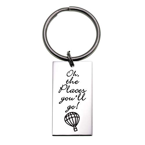 (LParkin 2019 College Graduation Gifts Oh The Places You Will Go Keychain, Stainless Steel Graduation)