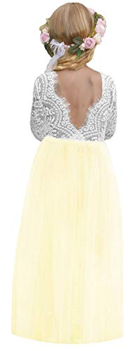 2Bunnies Girl Peony Lace Back A-Line Straight Tutu Tulle Party Flower Girl Dresses (Pale Yellow, 5)]()