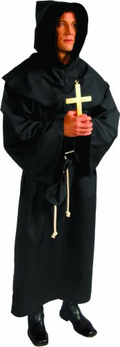 Alexanders Costumes Deluxe Monk Robe, Black, One Size - Deluxe Cotton Black Belt