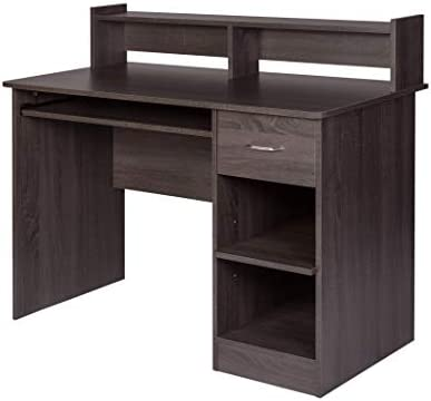 OneSpace Essential Computer Desk, Hutch with Pull-Out Keyboard, Grey Oak