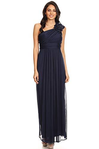 Dress Navy Womens One Shoulder DFI Bridesmaid Floral LA wPpSSt