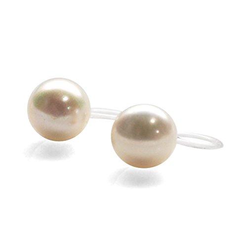Women's Miyabi Grace Elegant 8.5 mm White Freshwater Pearl Invisible Clip On Stud Earrings Bridal Wedding ()