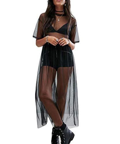 Women's Short Sleeve See Through Gauze Sheer Mesh T Shirt Dress Sheer Maxi Dress Tulle Maxi Skirt (XL, Black) ()