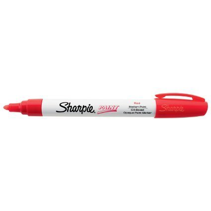 Sharpie Oil-Based Paint Marker, Medium Point, Red Ink, Pack of 12