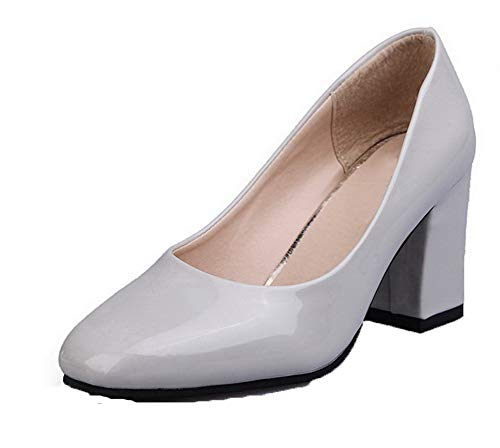 Tacón Zapatos Pu Tacón Alto tsmdh002816 De Puntera Cerrada Mujeres Aalardom Gris FYOfxqEwS