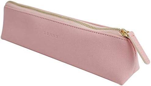 Rose BETOY PU Cuir Sac /à Crayons Triangle Design M/étal Zip Pencil Case pour Maquillage /école Bureau Trousse /à Crayons en Cuir