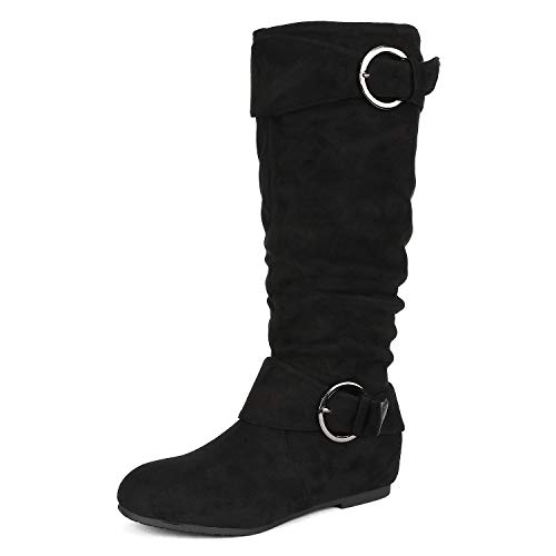 DREAM PAIRS Women's URA Black Suede Knee High Low Hidden Wedge Boots Wide Calf Size 7 M US - Faux Suede Wedge Boot