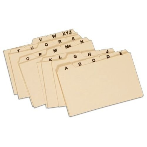 Globe-Weis/Pendaflex Manila Card Index Guides, 1/5 Cut, 3 x 5 Inches, A-Z Index, (3255)