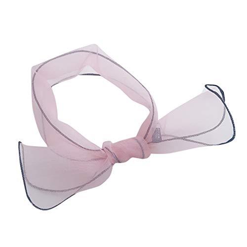 Women Neck Scarf Vintage Elegant Designs Silk Satin Feel Ladies Neck Scarf Skinny Neck Tie (Pink)