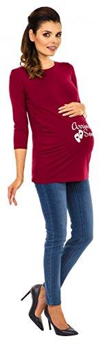 Zeta Ville - Camiseta Camisa Premamá estampado cuello redondo para mujer - 465c Carmesí