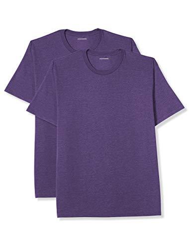 (Amazon Essentials Men's Big & Tall 2-Pack Short-Sleeve Crewneck T-Shirt, Purple Heather, 3X)